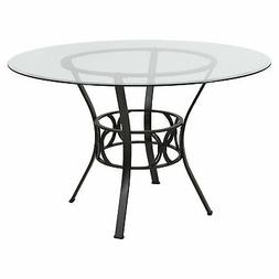 Round 48-inch Clear Glass Dining Table with Black Metal Fram