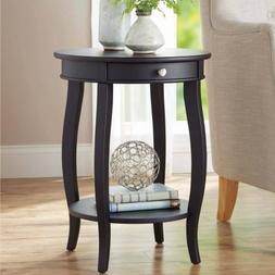 Better Homes and Gardens Round Accent Table with Drawer, Bla
