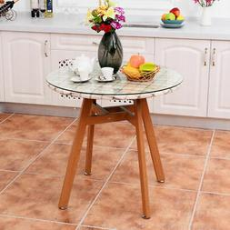 Round Dining Table Steel Frame Tempered Glass Top Home Decor