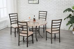 Round Dining Table Upholstered Dining Chairs Set Metal Kitch