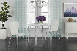 Round Dining Table with Chrome Legs