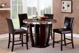GTU Furniture 5Pc Round Faux Marble Top Table with 4 Leather