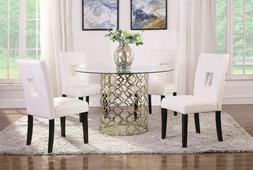 ROUND GLASS GOLD DINING TABLE & WHITE CUT OUT LEATHERETTE CH