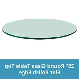 TroySys Round Glass Table Top 25 Inches Custom Annealed Clea