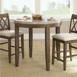 Bowery Hill Round Marble Top Counter Dining Table in Gray