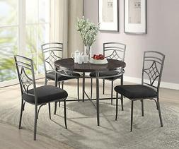 Round Metal Frame Dining Table with Faux Marble Top, Gray an