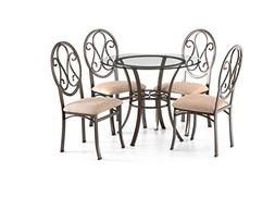 Beautiful Round Modern Dining Table Set with 4 Upholstered C