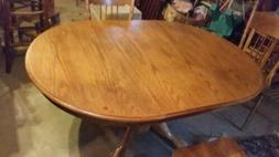 Round Oval Dining Room Table w/ Leaf Oak Country Farmhouse P