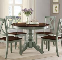 Round Pedestal Dining Table Set 4 Chairs Brown Green Solid W