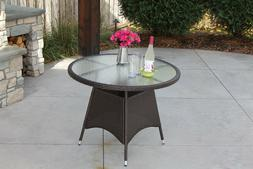 Round Wicker Outdoor Dining Table With Recessed Tempered Gla