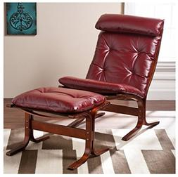 Ruby Red Leather Lounger Chair and Ottoman Curve Wood Frame