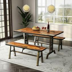 Tribesigns Dining Table with Two Benches, 3 Pieces Dining Se