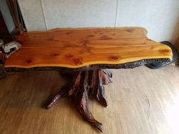 rustic dining room table juniper with pitch pine stump
