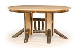 Rustic Hickory Double Pedestal Solid Top Oval Dining Table -