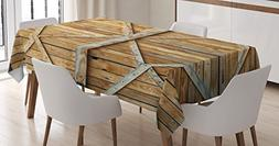 Rustic Tablecloth by Ambesonne, Traditional Wooden Timber Do