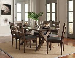 RUSTIC WOOD GREY FABRIC DINING TABLE & LADDERBACK CHAIRS FUR