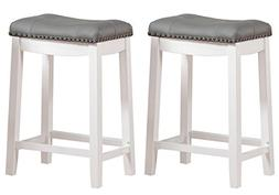 Saddle Stool 24 Seat Counter Bar Pub Kitchen Padded White Gr