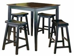 Homelegance 5 Piece Saddleback Dinette Set, Black-Sand-Thru