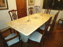 *SALE* ONYX MARBLE DINING TABLE SET 94 x 43 + 2 BASES + 10 S