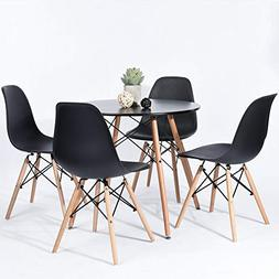 HOMY CASA Scandinavian Dining Round Table 80 cm and Set of 4