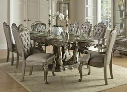 SENSATIONAL SILVER FINISH TAUPE FABRIC DINING TABLE 6 CHAIRS