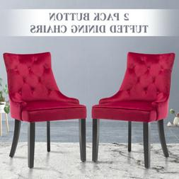 Set of 2 Elegant Tufted Design Fabric Dining Chairs Upholste
