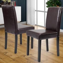 Set of 2 Elegant Modern Design Dining Chairs Home Room  Brow