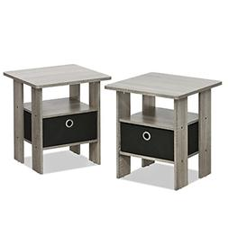 Set of 2 Nightstand Modern Side Table Pair Bedside Bedroom F