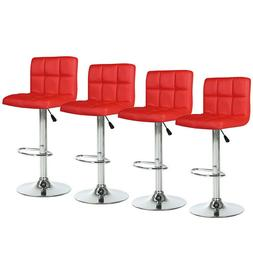 Set of 4 Bar Stools Red Counter Height Leather Adjustable Sw