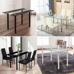 Set of 4 Dining Chairs PU Leather Modern Design+ Glass Top T