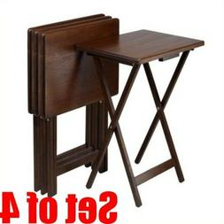 Set of 4 Tray Tables Wood Table Furniture Folding Coffee Din