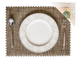 Set of 4 Vinyl Dining Table Place Mats Placemats, Modern Wov