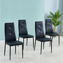 Set of 4 Modern Dining Chairs Set Glass Metal Table or 4 Cha