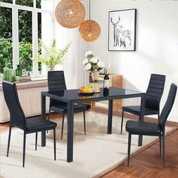 Set of 5 Pcs Dining Table 4 Chairs Metal Glass Kitchen Room