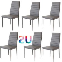 Set of 6 Grey Dining Chairs Home Room Furniture Backrest Ele