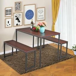 Set of Table and 2 Bench Dining Room Kitchen Canteen Chairs