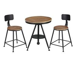 Vilavita 3 Pieces Set Round Wood Table and Dining Chairs Set