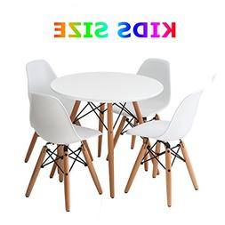 Buschman Set of White Eames Style Kids Dining Room Mid Centu