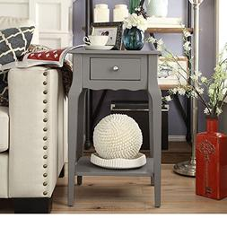 Single Piece Daniella 1-Drawer Grey Wood Storage Accent End
