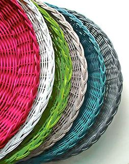 SIX Wicker Paper Plates Holders, Picnics and Parties, Outdoo