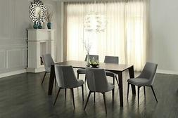SLEEK CONTEMPORARY 7 PC ESPRESSO DINING TABLE & GREY FABRIC