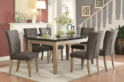 FAUX BLUE STONE MARBLE TOP DINING TABLE & DARK GRAY DINING C