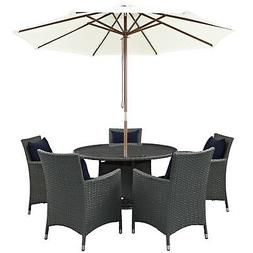 "Sojourn 7 Piece Outdoor Patio Sunbrella Round 25.5"" Dining T"