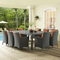 "LexMod Sojourn Outdoor Patio Dining Table, 90"", Chocolate"