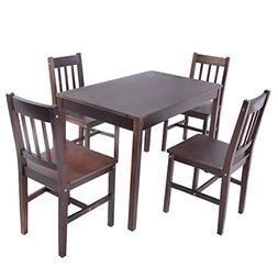 Giantex 5PCS Solid Pine Wood Dining Set Table and 4 Chairs H