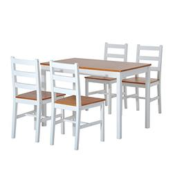 HomCom 5 Piece Solid Pine Wood Table and Chairs Dining Set -