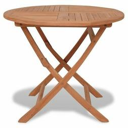 vidaXL Solid Teak Wood Outdoor Dining Table Folding Round Ga