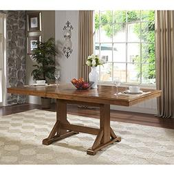 "WE Furniture 77"" Solid Wood Brown Dining Table"