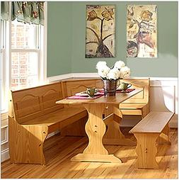 Solid Wood Corner Honey Dining Set with Bench