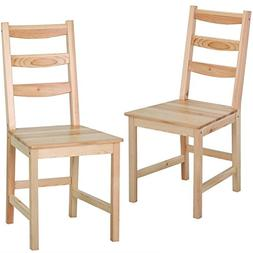 Yaheetech Set of 2 Solid Wood Ladder Back Chair Kitchen Dini
